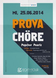 Chorkonzert Prova Chöre eightyFour 84, #flyer #design