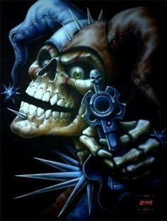 Skull Joker of death by ~linkerart on deviantART 10 Tattoo, Evil Jester, Model Tattoo, Totenkopf Tattoos, Skull Artwork, Skull Wallpaper, Creepy Clown, Evil Clowns, Airbrush Art