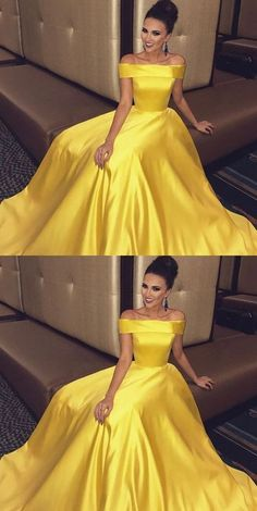 Off The Shoulder Long Satin yellow Prom Dresses Ball Gowns 2018 G272