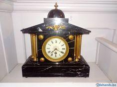 Gebruikt: Zwarte marmeren pendule In goede staat (Klokken & Barometers) - Te koop voor € 150,00 in Antwerpen