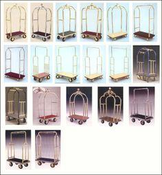 Hotel Luggage Carts. Use as clothing racks!