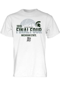 quality design 57de3 8aae1 Michigan State Spartans White 2019 NCAA Final Four Short Sleeve T Shirt,  White, 100
