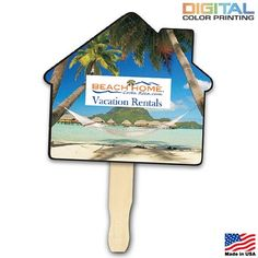 Promotional House Shape Hand Fan Full Color Digital | Customized Ad Hand Fans | Promotional Ad Hand Fans #realestate #advertising #handouts #logo