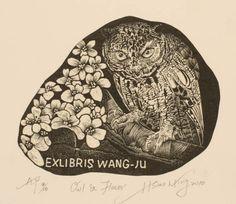 Ex Libris by Hou Hsiao Ming (侯筱珉, Taiwan)for Wang Ju