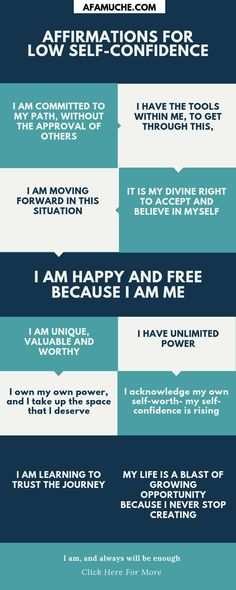 Affirmations for low self-confidence Infographic Affirmations Confidence, Affirmations For Happiness, Self Esteem Affirmations, Affirmations For Anxiety, Affirmations For Women, Daily Positive Affirmations, Law Of Attraction Affirmations, Positive Quotes For Life, Positive Vibes