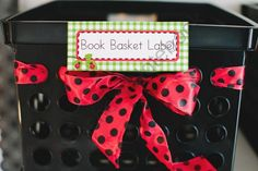 Lovely Ladybugs Book Basket Labels from Schoolgirl Style on TeachersNotebook.com (4 pages)  - Lovely Ladybugs Book Basket Labels