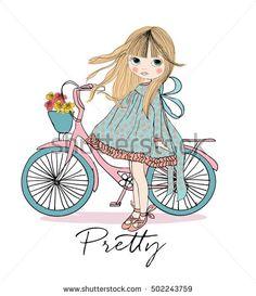 girl, girl vector,cute girl, princess girl, romantic girl, T-shirt Graphics