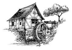 Old Water Mill Sketch Royalty Free Cliparts, Vectors, And Stock Illustration. Landscape Pencil Drawings, Pencil Art Drawings, Art Drawings Sketches, Barn Drawing, House Drawing, Old Windmills, Water Mill, Wood Burning Art, Black And White Drawing
