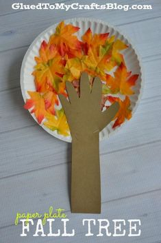 Paper Plate Fall Tree - Kid Craft & Paper Plate Leaf - Kid Craft | Leaves Craft and Activities