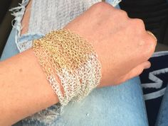 Gold filled & Sterling chain bracelet, Cuff Bracelet, Mesh Bracelet, wide band bracelet, Elegant bracelet, Statement bracelet, gold bracelet