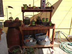 I think this is from the Secret Garden in South Sacramento Potting Tables, Sacramento, Garden, Furniture, Home Decor, Garten, Decoration Home, Room Decor, Lawn And Garden