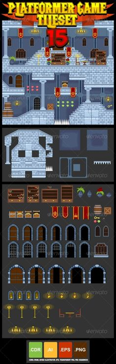 Platformer Game Tile Set 15 by pzUH A set of vector game asset / graphic / sprite / art contains ground and house tiles and several items / objects / decorations, and Jeopardy Game Template, Powerpoint Game Templates, Board Game Template, Dwarven City, Fantasy Rpg Games, Videogames, Vector Game, Game Background, House Tiles