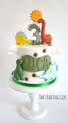 Dino Cake Alen's birthday Bolo Ninjago, Dinasour Cake, Dinosaur Birthday Cakes, Dinosaur Party, Dinosaur Cakes For Boys, Dino Cake, Cute Cakes, Celebration Cakes, Party Cakes