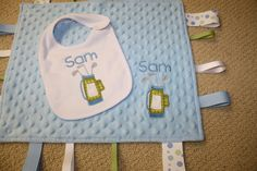 Custom Personalized Golf Applique and Embroidered Sensory Ribbon Tag Blanket with Coordinating White Bib by SeamsDivine on Etsy