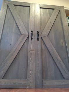 Modern Sliding Barn Doors at Affordable Prices!  'Point' design, barn door pulls, classic grey coloring! Check us out to find your style!  From our house to yours! www.dswoodhouse.com
