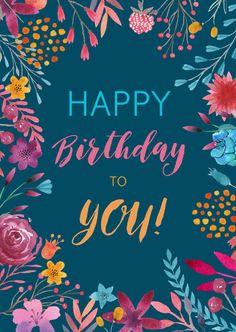 Happy Birthday Vintage, Happy Birthday Wallpaper, Cute Happy Birthday, Happy Birthday Flower, Happy Birthday Pictures, Birthday Greetings Friend, Happy Birthday Wishes Cards, Birthday Blessings, Birthday Wishes Cake