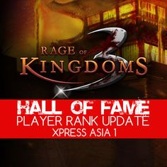 Here's the latest update of Player Ranking for Xpress Asia 1 Server. Congratulations ! Check it out here : http://www.gamernizer.com/r3k/hallOfFame