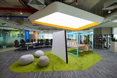 ADP-architects designed an open office concept for conglomerate giant, located in Ho Chi Minh City, Vietnam. City Office, Open Office, Organic Structure, Green Carpet, Swinging Chair, Ho Chi Minh City, Architect Design, Office Interiors, Retail Design