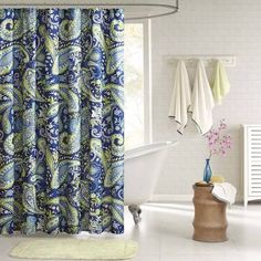 Blue Green Paisley Shower Curtain Google Search Unique Shower