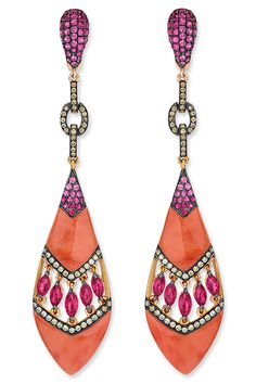 Wendy Yue Coral Drop Earrings ~  Carved coral drops with a middle open chevron section with marquise-shaped rubies bordered with rows of diamonds, and pink sapphires at the top; in 18-karat rose gold. Diamond weight: approximately 0.61 carat total; Ruby weight: approximately 2.40 carats total.