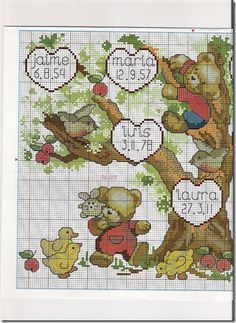 Cross Stitch Cross-Stitch Family Tree Cross-Punto-teddies