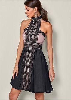 d29a5182c494 Black   Mauve High Neck Lace Detail Dress
