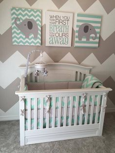 Harbor Crib & Dresser Set - Babies R Us $210 Twilight Grey Paint - Sherman Williams Elephant Mobile - Buy Buy Baby $60 Elephant Canvas Pictures - Etsy $30 Mint Chevron Bedding - Carousel Design