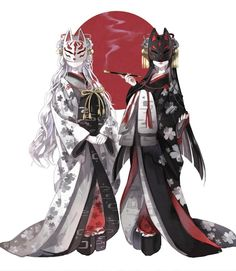 samurai/artwork Japanese Kitsune Masks Building Your Dream Home - Part 1 For most of my adult life I Anime Kimono, Anime Art Girl, Manga Art, Anime Girls, Fantasy Characters, Female Characters, Anime Characters, Kitsune Maske, Illustration Manga