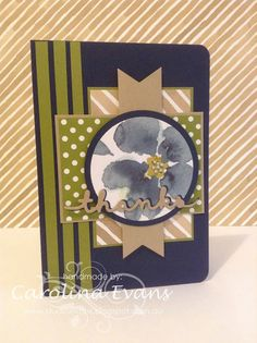 English Garden Flowers in Navy and Olive for #mojo403 2015 Carolina Evans #stampinup using Stampin' Up! Products