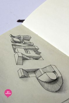 Moleskine Illustrations by Lex Wilson, via Behance lettering and perspective Schrift Design, Doodles, 3d Drawings, Pencil Drawings, Drawing Art, Drawing Ideas, Op Art, Teaching Art, Typography Design
