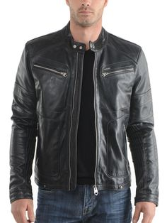 Men Leather Jacket Brand New 100% Genuine Soft Indian Lambskin Bomber Bike GF871 #Handmade #Motorcycle