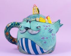 Check out our whimsical ceramics selection for the very best in unique or custom, handmade pieces from our fine art ceramics shops. Ceramic Figures, Ceramic Artists, Ceramic Painting, Ceramic Tableware, Ceramic Decor, Porcelain Ceramics, Ceramic Pottery, Teapots Unique, Ceramic Techniques