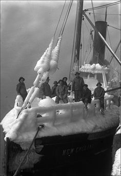 """Fishing boat """"New England"""" covered in ice, British Columbia, 1916 / Photograph by Leonard Frank"""