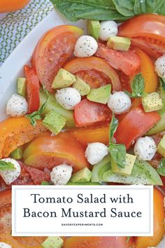 Tomato Salad with Mustard Bacon Dressing is the ultimate summer side dish using lush tomatoes, avocado mozzarella basil. Make it ahead for any party or BBQ. New Recipes, Cooking Recipes, Favorite Recipes, Healthy Recipes, Drink Recipes, Recipies, Fresh Tomato Recipes, Bacon Dressing, Side Salad Recipes