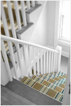 Striped stair runner. This is like our stair set up. Maybe only runners on the steps not on the landing?