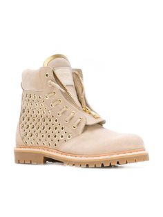 385a74072f Balmain Tia Tundra Suede Tan Gold Metal Grommets Perforated Ankle Beige  Boots. Get the must