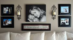 i am so doing this over my bed but couple pic in the middle and 4 kids on sides.