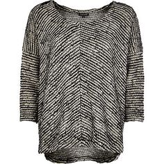 Black textured stripe slouchy t-shirt from riverisland.com
