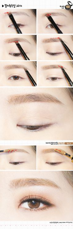 Korean eyebrows; i really like the eyemakeup on the bottom