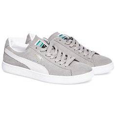 Puma Suede classic grey sneakers ($42) ❤ liked on Polyvore featuring shoes, sneakers, grey sneakers, gray sneakers, gray suede sneakers, grey trainers and suede trainers