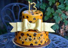 Leopard print tier cake