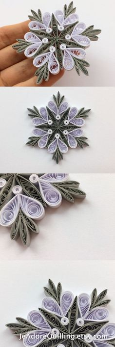 Snowflakes Gray White Christmas Tree Decor Winter Ornaments Gift Toppers Fillers Office Corporate Paper Quilling Quilled Handmade Art