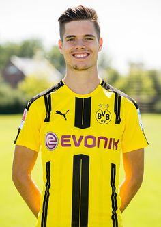 Dortmund's Julian Weigl poses during the team presentation of Borussia Dortmund on August 17 2016 in Dortmund Germany