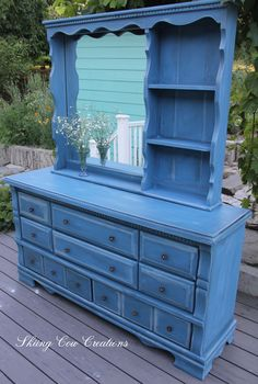 The lady I painted this for didn't want the mirror! Would you have wanted the mirror too? Painted in Annie Sloan's Greek Blue with Pure White wash and clear and dark wax. More furniture in my Etsy store https://www.etsy.com/ca/shop/skiingcowcreations?ref=seller-platform-mcnav