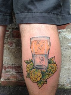 Glass half full, beer, hops by Kirsten Holliday at Infinity Tattoo in Portland, OR // this one's for Matt :)
