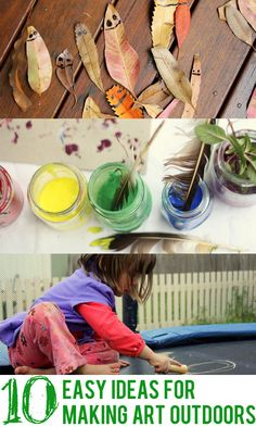 If the kids are getting under your feet, why not send them outside for some time to create! Check out these 10 fun and easy ideas for kids art...outdoors.