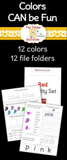 File Folder Activity Set - All Colors Bundled File Folder Activities, File Folder Games, File Folders, Activities To Do, Literacy Activities, Kindergarten Literacy, Early Literacy, Teaching Colors, Teaching Ideas
