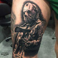 Fresh Realistic Thigh Piece From Cris! Mädchen Tattoo, Clown Tattoo, Money Tattoo, Forarm Tattoos, Real Tattoo, Leg Tattoos, Tattoos For Guys, Chicano Tattoos Sleeve, Leg Sleeve Tattoo