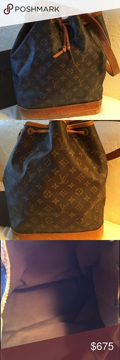 "💯Auth Louie Vuitton Noe GM vintage 💯 Authentic Louie Vuitton Noe GM vintage bag. In good condition for its age. Has normal wear & tear. Inside is very clean no stains. Outside has some wear on the bottom leather. Nothing major just wear & tear from use. Has watermark on the bottom 2"" X 2"" & a few other marks which most bags of this age do. The string around the top is broke & tied together inside (just noticed this) but an easy fix & doesn't effect the use of the bag. For additional pics…"