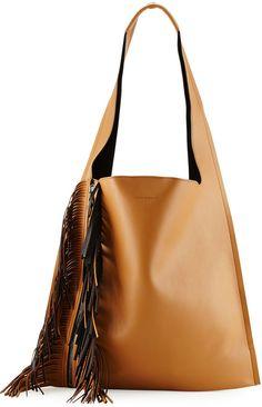 Elena Ghisellini Estia Bicolor Fringe Shoulder Bag, Tan/Black